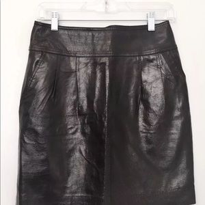 EXPRESS DESIGN STUDIO Blk Leather Skirt Exp Zipper